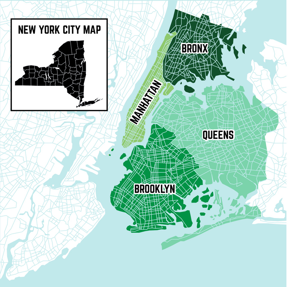 Color Coded Map Of New York City Boroughs
